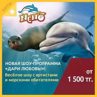 Новая шоу-программа Дари Любовь! Весёлое шоу с артистами и морскими обитателями в алматинском дельфинарии Nemo со скидкой до 52%!